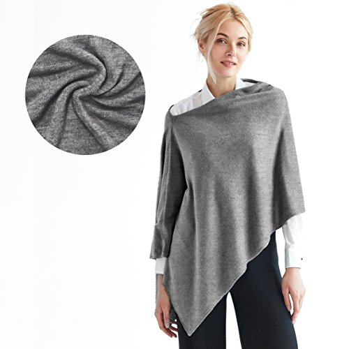 Sunny Tag Faux Cashmere Acrylic 3-in-One Knitted Poncho Topper Wrap Scarf Sweater Cardigan, Machine Washable FREE Linen Pouch, Heather Grey, One Size Fits Most.