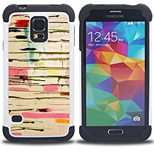 GIFT CHOICE / Defensor Cubierta de protección completa Flexible TPU Silicona + Duro PC Estuche protector Cáscara Funda Caso / Combo Case for Samsung Galaxy S5 V SM-G900 // Abstract Paint Drip Art Pollock Lines //