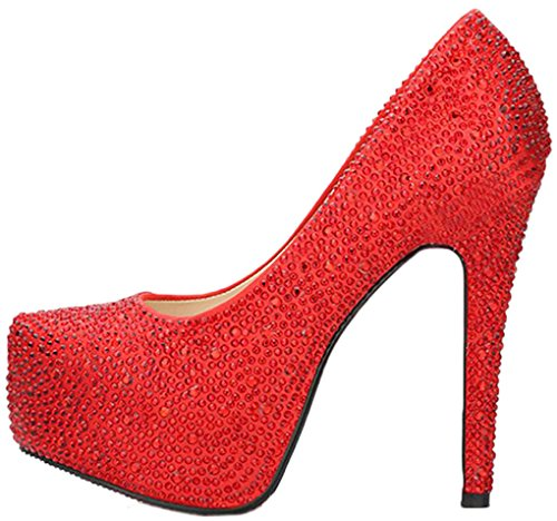 Littleboutique Glitter Stone Wedding Platforms High Heels Bridal Shoe Prom Party Pumps red 6