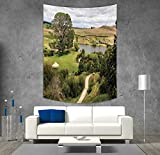 iPrint Polyester Tapestry Wall Hanging,Hobbits,Overhill Matamata New Zealand Movie Set Hobbit Land Village Movie Set Image,Green Brown,Wall Decor for Bedroom Living Room Dorm