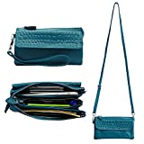 Befen Leather Wristlet Clutch Smartphone Crossbody Wallet with Card Slots/Shoulder Strap/Wrist Strap - Teal