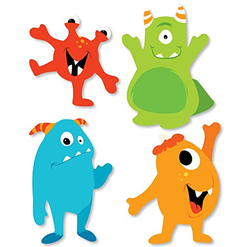 Big Dot of Happiness Monster Bash - DIY Shaped Little Monster Birthday Party or Baby Shower Cut-Outs - 24 -