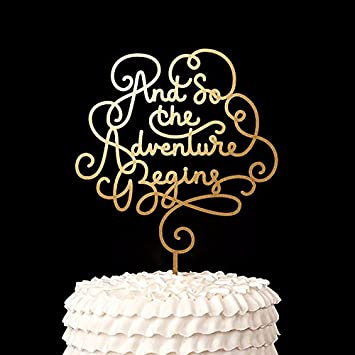 Amazon script and so the adventure begins cake topper wood script and so the adventure begins cake topper wood rustic wedding decor bridal shower party favors junglespirit Image collections