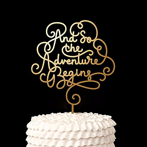 Script And So The Adventure Begins Cake Topper Wood Rustic Wedding Decor Bridal Shower Party Favors Decoration 1 piece
