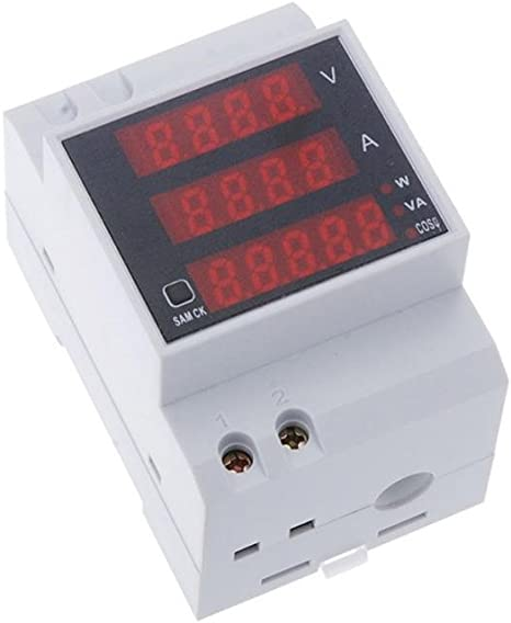 D52-2048 Carril DIN Digital de Voltaje de Corriente Voltímetro ...