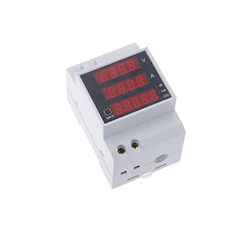 D52-2048 Carril DIN Digital de Voltaje de Corriente Voltímetro Medidor de Potencia Amperímetro: Amazon.es: Bricolaje y herramientas