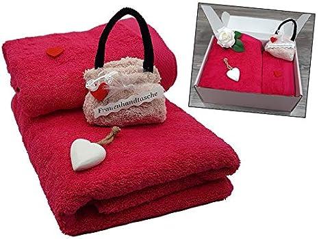 1 sac /à main en serviette dinvit/é violet fuchsia 100 x 50 cm Fuchsia-violett c/œur d/écoratif en bois 140x70cm 500 g//m/² Coffret cadeau pour femme 4 pi/èces : 1 serviette de douche 1 serviette