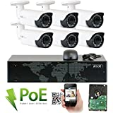 GW Security 8 Channel 5MP 1920P NVR Outdoor Indoor HD IP PoE Security Camera System 2.8-12mm Varifocal Zoom QR Code Remote Access, 6 Camera System