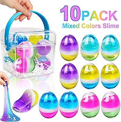 Fluffy /& Stretchy Stress Relief and Anti-Anxiety Tools Classroom Party Favor for Kids and Adults Sludge Toys Great Family Games 10 Pack Silly Galaxy Slime Eggs Multicolor Soft DIY Kit Sludge Toy