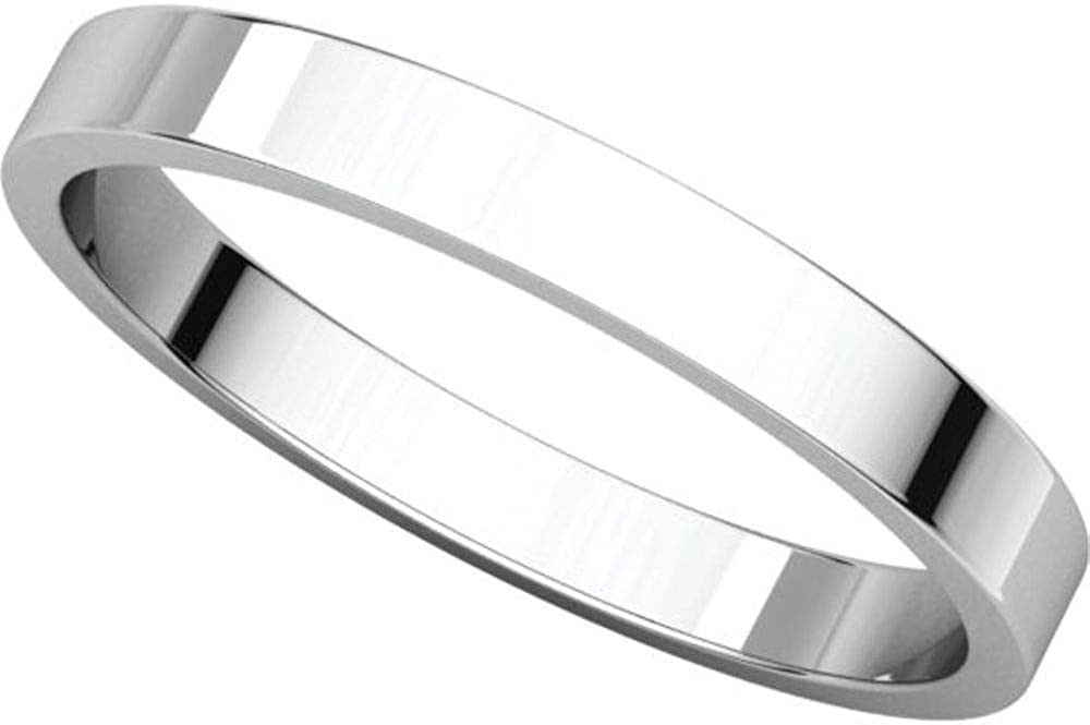 Size 10.5 Bonyak Jewelry 14K X1 White 2.5 mm Flat Band in 14k White Gold