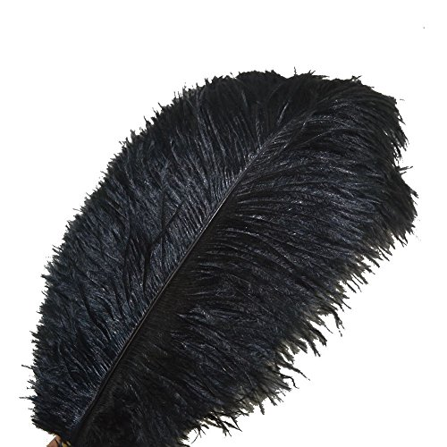 Sowder 10pcs Ostrich Feathers 12-14inch(30-35cm) for Home Wedding Decoration(black) (To Masks Buy Where Masquerade)