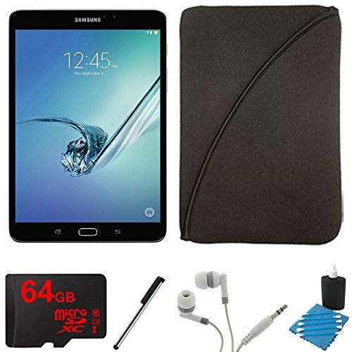 Samsung Galaxy Tab S2 8.0-inch Wi-Fi Tablet (Black/32GB) 64GB MicroSD Card Bundle includes Galaxy Tab, Memory Card, Stylus Pen, Noise Isolation Headphones, Protective Tablet Sleeve and Cleaning Kit