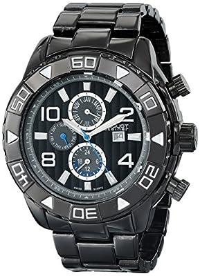 August Steiner Men's AS8130BK Black Multifunction Swiss Quartz Watch with Black Dial and Black Gold Bracelet