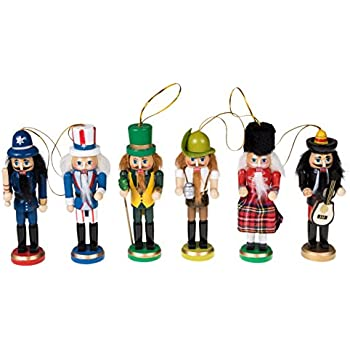 "Wooden Christmas Nutcracker Ornaments by Clever Creations | Variety 6 Pack | Festive Decorations | 5"" Tall Perfect for Christmas Trees 