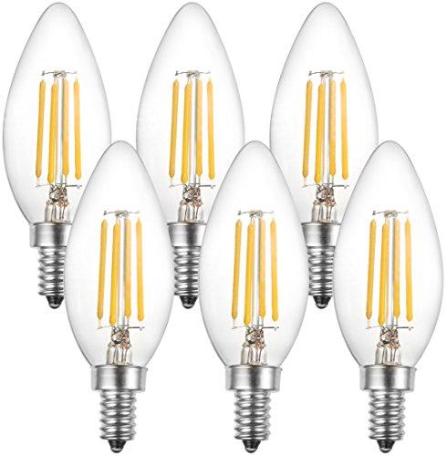 BAILIDA Dimmable E12 LED Candelabra Bulbs, 40W Equivalent Vintage C35 Filament Candle Light Bulb for Chandelier, Soft White 2700K, 6-Pack