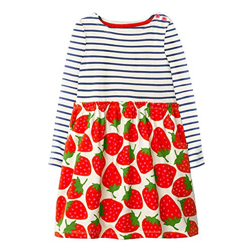 Cneokry Girls Dress for Toddlers Strawberry Long Sleeve Casual Cotton Applique Print Princess Dresses (Strawberry Shortcake Applique)