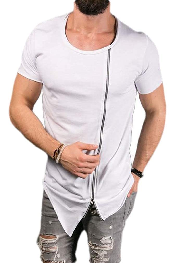 Joe Wenko Men Short Sleeve Crewneck Zipper Tops Tees Hip Hop Casual T-Shirts