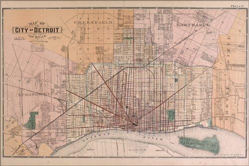 Poster Map Of Detroit 1891 Antique Reprint
