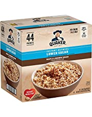 Quaker Instant Oatmeal Lower, Maple & Brown Sugar, 1.19 Oz, Pack of 44