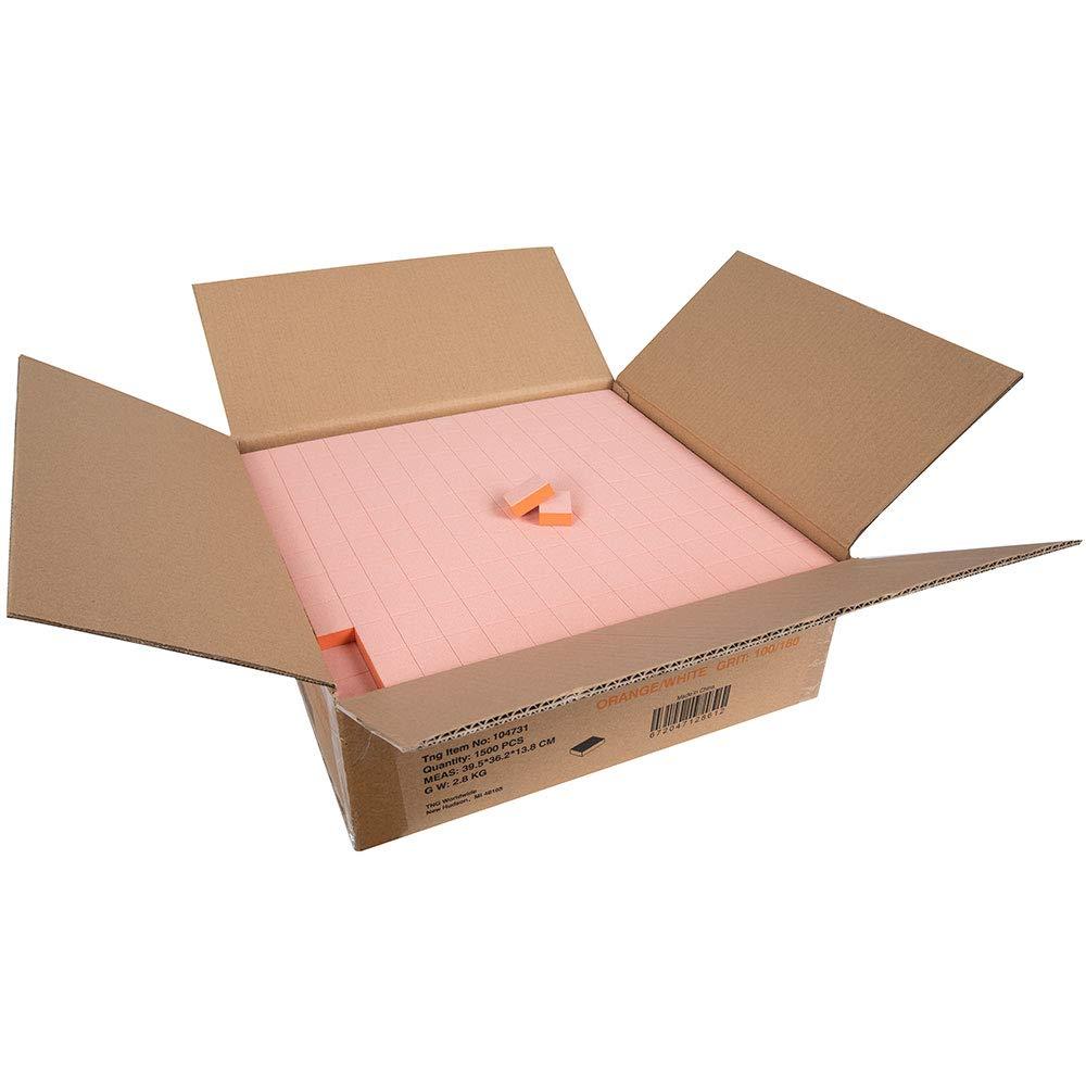 ForPro Basics Orange/White Mini Block Buffer, 100/180 Grit, Double-Sided Disposable Manicure and Pedicure Buffer, 1'' W x 1.4'' L, 1500-Count (125 Blocks - 12 Mini Buffers) by ForPro