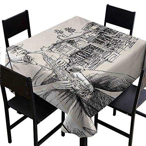 - Bensonsve Tablecloth Clips Jazz Music,Art with Jazz Saxophonist Playing at River Bank Palm Trees Bungalow Reflection,Beige Black 60