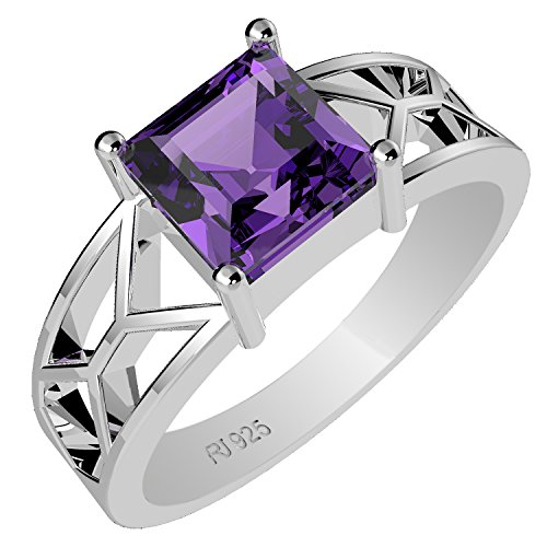 1.15ctw,Genuine Amethyst 6x6mm Square & Solid .925 Sterling Silver Ring (Size-9.5)