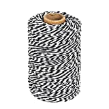 Tenn Well Black and White Twine, 200M Cotton Bakers Twine Perfect For Baking, Butchers, Crafts, Christmas Gift Wrapping