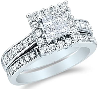 Amazon 14k White Gold Diamond La s Womens Bridal Engagement