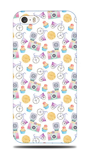 Foxercase Designs Cupcake Bike Camera Pattern Hard Back Case Cover For Apple iPhone 5 / 5S