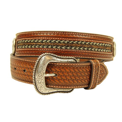Cross Concho Belts (Nocona Men's Cross Concho Horse Hair Inlay, Tan,)