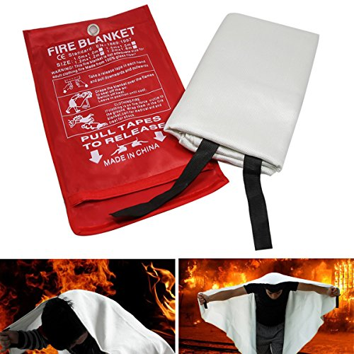 JRSOKO Fiberglass Fire Blanket Emergency Survival Fire Shelter Safety Protector for People,US Certified