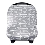 Kyпить Nursing Breastfeeding Cover Scarf - Baby Car Seat Canopy, Shopping Cart, Stroller, Carseat Covers for Girls and Boys - Best Multi Use Infinity Stretchy Shawl by YOOFOSS, Grey Arrow на Amazon.com