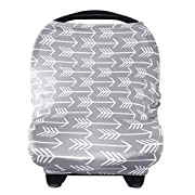 Nursing Breastfeeding Cover Scarf - Baby Car Seat Canopy, Shopping Cart, Stroller, Carseat Covers for Girls and Boys - Best Multi Use Infinity Stretchy Shawl by YOOFOSS, Grey Arrow