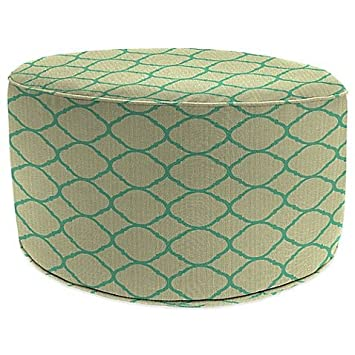 Outdoor Round Pouf Ottoman In Accord Jade