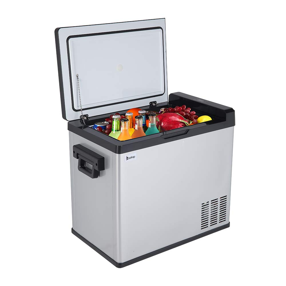 onEveryBaby US Standard JK-B-50D DC12V / 24V AC100V-240V 50L / 54Quart / 1.7CU.FT Compressor Touch Screen Car Refrigerator Stainless Steel Black