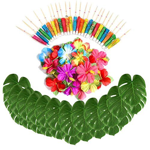 (Sorive 98 Pieces Hawaiian Luau Theme Party Decorations, Including 24 Pieces Tropical Palm Leaves, 24 Pieces Luau Flowers and 50 Pieces Multi-color Umbrellas)