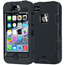 Armor iPhone 4 Case,Apple iPhone 4 4S Case,Shockproof Heavy Duty Combo Hybrid Defender High Impact Body Rugged Hard PC & Silicone Case Protective Cover For Apple iPhone 4 4S (Black)