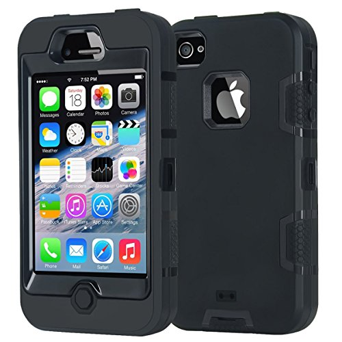 iPhone 4 Case,Apple iPhone 4 4S Case,Shockproof Heavy Duty Combo Hybrid Defender High Impact Body Rugged Hard PC & Silicone Case Protective Cover for Apple iPhone 4 4S (Black) (Otter Box Cases For I Phone 4)