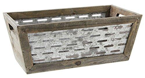 Lucky Winner Galvanized Metal & Wood Crate (Galvanized Storage Cube)