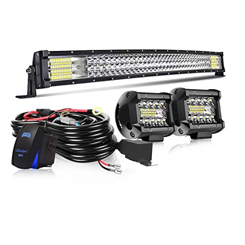 "32"" LED Light Bar Curved T-Former Triple Row 441W Flood Spot Combo Beam Off Road Lights 2pc 4inch 60W Spot Driving Fog Lights with Rocker Switch Harness Wiring for Trucks ATV UTV Jeep Boat Pickup"
