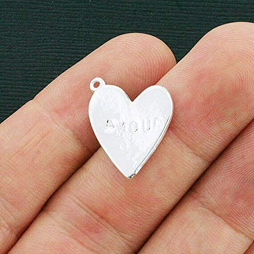 10 Heart Charms Silver Plated with Embossed Amour - SC3865