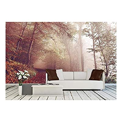 Magnificent Portrait, Classic Design, Large Wall Mural Oil Painting Style Landscape with Forest in Autumn Vinyl Wallpaper Removable Wall Decor
