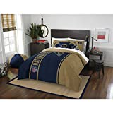 3 Piece NFL Rams Comforter Full Set, Blue Gold Multi Football Themed Bedding Sports Patterned, Team Logo Fan Merchandise Athletic Team Spirit Fan, Polyester, For Unisex