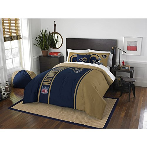 3 Piece NFL Rams Comforter Full Set, Blue Gold Multi Football Themed Bedding Sports Patterned, Team Logo Fan Merchandise Athletic Team Spirit Fan, Polyester, For Unisex by MFN