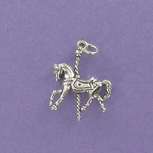 Carousel Horse Charm Sterling Silver for Bracelet Merry-Go-Round Carnival Fair Jewelry Making Supply, Pendant, Charms, Bracelet, DIY Crafting by Wholesale Charms
