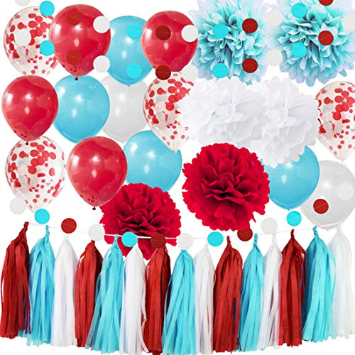 Dr Seuss Party Decorations Bridal Shower Decorations Aqua Blue White Confetti Balloons for Nurse Graduation Decorations Dr Seuss Cat in the Hat 1st Birthday Party Supplies/Airplane Party Decor ()