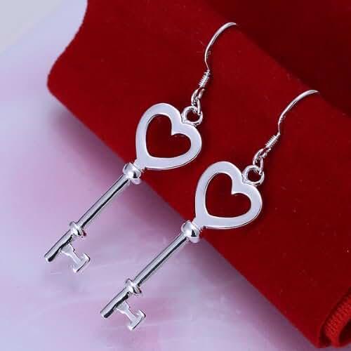 Chokushop Hot! 925 Silver Heart-shape Key Drop Earrings for Women Elegant and Generous Fashion Jewelry SPCE135