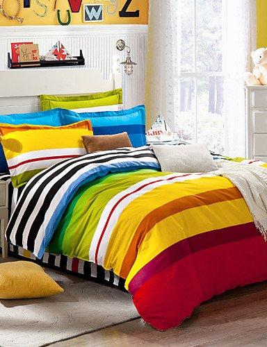 WYJ la protectora conjunto sábanas Queen Size edredón de toallas RAYAS multicolores mis en 100%