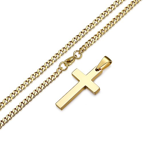 FOSIR Stainless Steel Cross Pendant Chain Necklace for Men Women,22-24 inches Polished Curb
