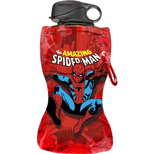 Vandor 26210 Marvel Spider-man 12 oz Collapsible Water Bottle, Red, Blue, White, and Black